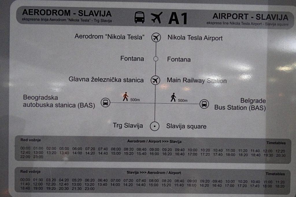 Расписание шаттл-баса А1 Белград